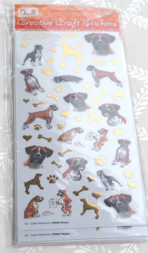 BOXER DOG - CRAFT STICKERS SCRAPBOOKING CARD CRAFT ETC
